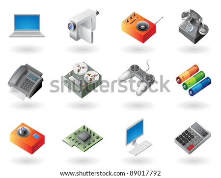 High detailed realistic icons for electronics devices. Raster version. Vector version is also available. - stock photo