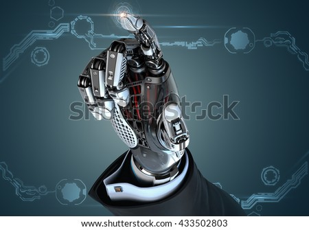High detailed robotic hand in business suit touching virtual point with index finger. Bionic technology in digital world. 3d rendered image - stock photo