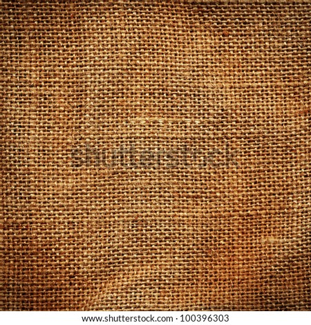 High detailed texture of a burlap material - stock photo