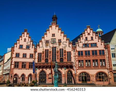 High dynamic range HDR Frankfurt city hall aka Rathaus Roemer Germany - stock photo