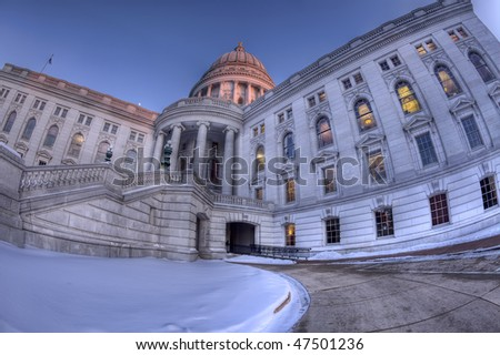 High Dynamic Range (HDR) image of Wisconsin sate capitol, Madison - stock photo