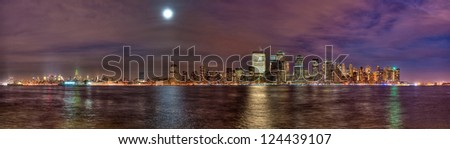 High Dynamic Range New York City skyline as seen from New Jersey - stock photo