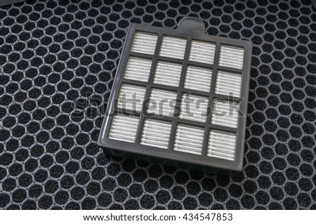 High efficiency particle and carbon dust filters for air purifier. - stock photo