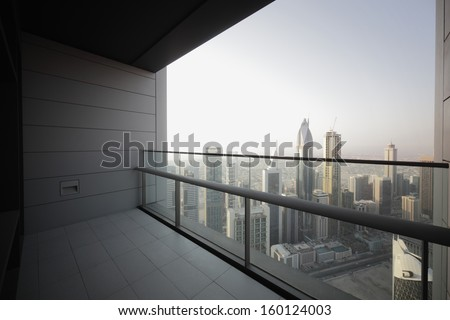 high end balcony in downtown of dubai - stock photo