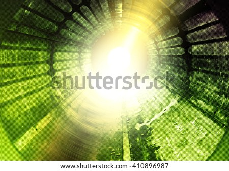 High energy light tunnel or science fiction hyperspeed illustration - stock photo