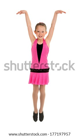 High Energy Tap Dancing Girl in Performance Costume - stock photo