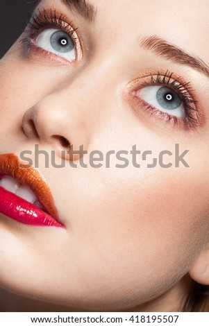 High fashion look.glamor closeup beauty portrait of beautiful Caucasian young woman model with nude makeup with perfect clean skin - stock photo