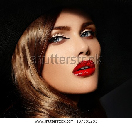 High fashion look.glamor closeup portrait of beautiful sexy stylish Caucasian young woman model with bright makeup, with red lips,  with perfect clean skin - stock photo