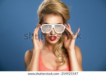 High fashion look.glamor lifestyle blond woman girl in glasses  - stock photo
