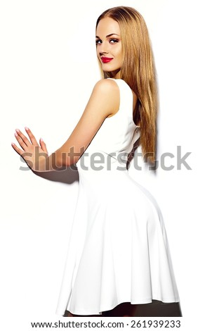 High fashion look.glamor sexy stylish blond young woman model with bright makeup with perfect sunbathed clean skin in white summer dress with red lips - stock photo