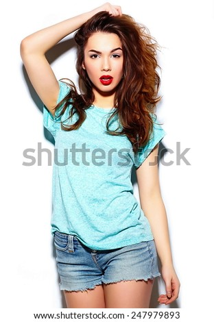 High fashion look.glamor stylish beautiful  young happy smiling woman model with red lips  in casual cloth  - stock photo