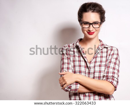 High fashion look.glamor stylish beautiful young woman model with red lips in summer bright colorful jeans hipster cloth - stock photo