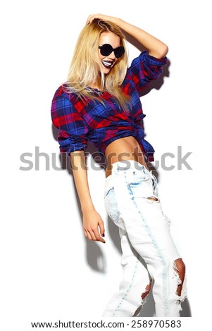 High fashion look.glamor stylish sexy smiling beautiful young blond woman model in summer bright hipster cloth  in sunglasses - stock photo