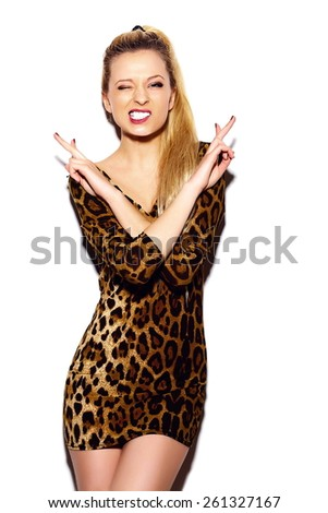 High fashion look.glamor stylish sexy smiling beautiful young blond woman model in summer leopard dress - stock photo