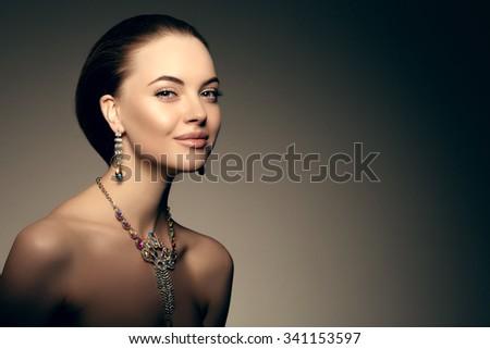 High-fashion Model Beauty Woman  Perfect skin eyes lips  - stock photo