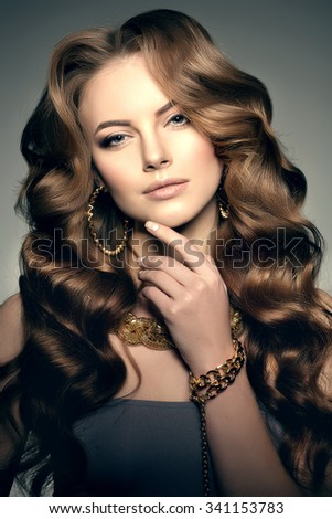 High-fashion Model with Perfect skin eyes lips  - stock photo