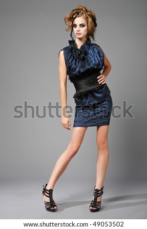 High fashion portrait of young, slim, beautiful model. - stock photo