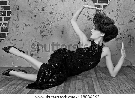 High Fashion Styled Woman With Updone Hair - stock photo