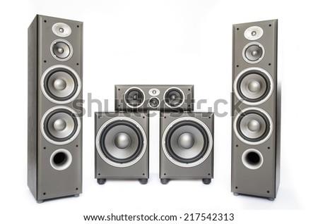 High fidelity audio surround system isolated on white - stock photo