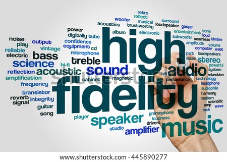High fidelity concept word cloud background - stock photo