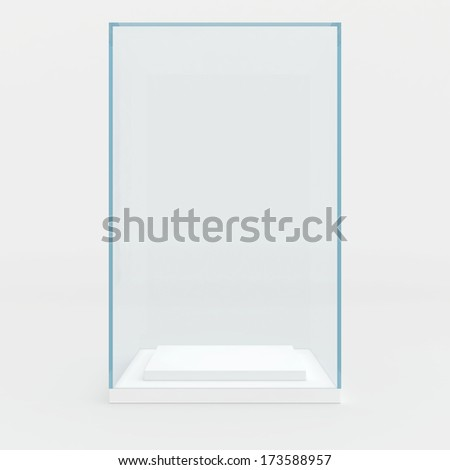 high glass showcase. and located at the bottom of the podium for the show - stock photo