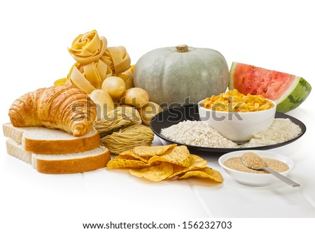 High Glycaemic Index Foods - carbohydrates which have a high glycaemic index rating, on a white background.  - stock photo