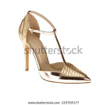 high heel on white background - stock photo