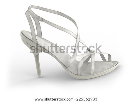 High heel sandals isolated on white - stock photo