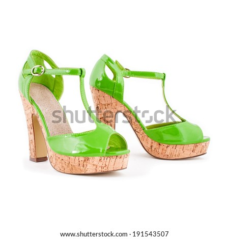 High heel varnish green women summer shoes ( sandals ) isolated on white - stock photo