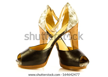 High heel women shoes on white background - stock photo