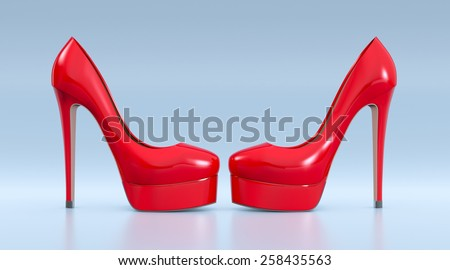high heeled shoes on blue background (3d render) - stock photo