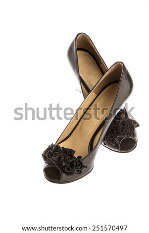high heeled shoes on white - stock photo