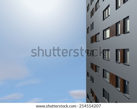 High in the air looking at a facade of an apartment building. - stock photo