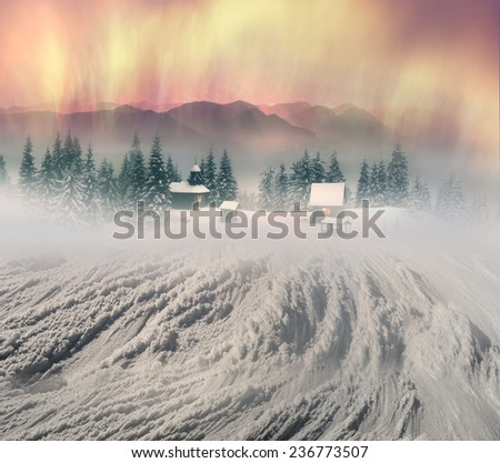 High in wild mountains located monastyr- church shepherds of sheep,  Carpathian Mountains Natural reserves is very beautiful, but accessible only to experienced hikers and climbers during cold weather - stock photo
