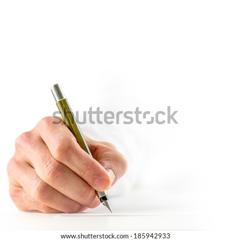 High key image with a close up view of the hand of a man in a white shirt signing a document with a fountain pen, square format conceptual image with copyspace. - stock photo