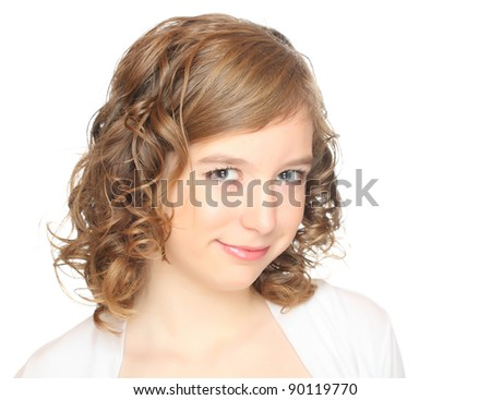 High key portrait of beautiful teenage girl. Studio shot. - stock photo