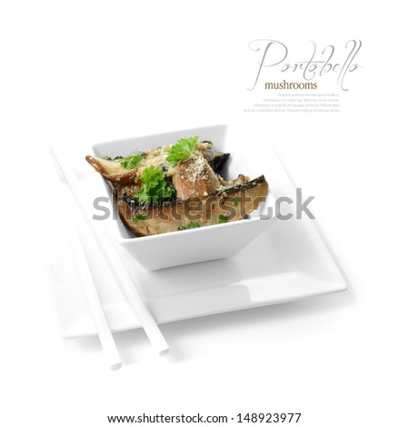 High-key studio shot of Portobello mushrooms cooked in garlic butter with parsley garnish. Selectively lit to create soft shadows color corrected to create a black and white background. Copy space. - stock photo