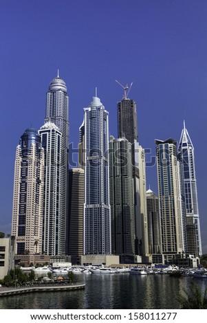 high luxury blue building skyscraper - stock photo