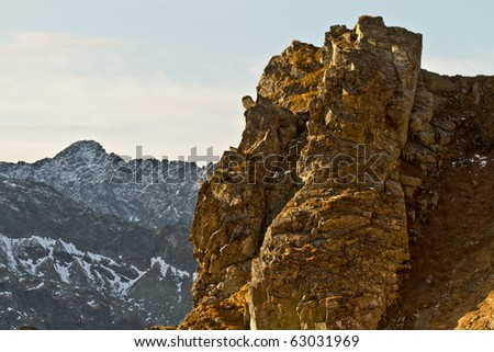 High mountain scenery - stock photo
