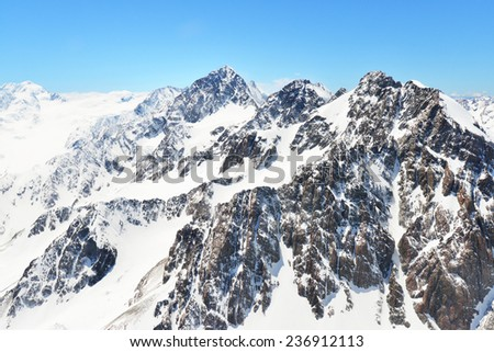 High Mountain with glacier in New Zealand  - stock photo