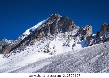 High mountains and clear sky. Beautiful natural landscape - stock photo