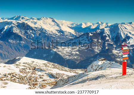 High mountains and signboard in the Alps,Les Sybelles,France,Europe - stock photo