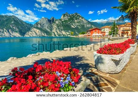 High mountains and walkway on the shore,Lake Garda,Italy,Europe - stock photo