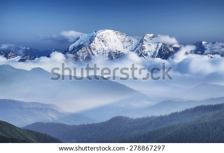 High mountains during sunrise. Beautiful natural landscape - stock photo
