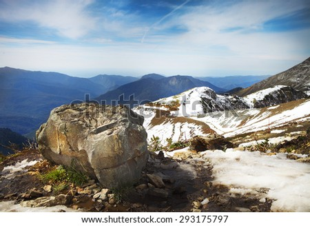 High mountains landscape view in Sochi, Rosa Khutor - stock photo
