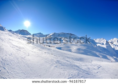 High mountains under fresh snow in the winter  season - stock photo