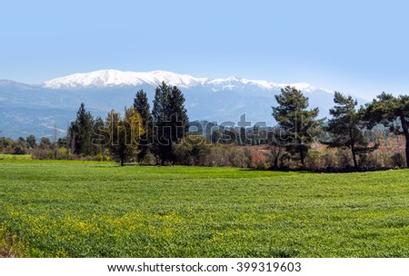 High mountains under snow - stock photo