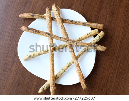 High point of view of Breadsticks  - stock photo