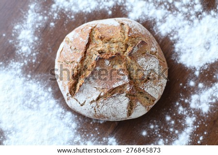 High point of view of freshly baked bread - stock photo