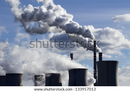 high pollution from coal power plant - stock photo